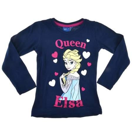 Bluzka dla dzieci z długim rękawem Kraina Lodu Elsa granatowa